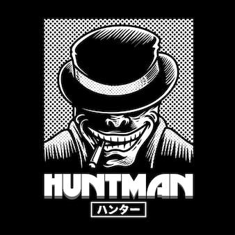 ハントマン白黒イラスト