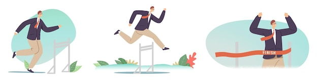 Hurdle jump, obstacles running competition, leadership, sport challenge, leader chase. businessman jumping over barriers, business man character cross finish line. cartoon vector illustration, icons