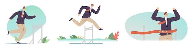 Прыжки с препятствиями, соревнования по бегу с препятствиями, лидерство, спортивный вызов, погоня за лидером. бизнесмен, перепрыгивая через барьеры, деловой человек характер крест финишной черты. векторные иллюстрации шаржа, значки