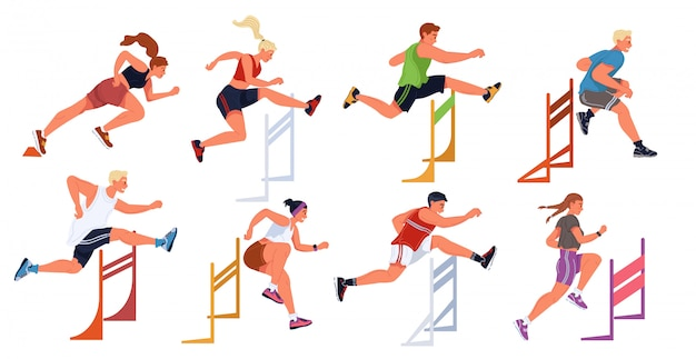 Hurdle race, female, male sportive jumping competition. athletes, steeplechase, obstacle running.
