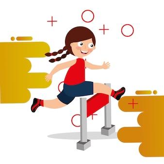 장애물 경주 어린 소녀 장애물 위로 점프
