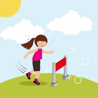 장애물 경주 어린 소녀 점프