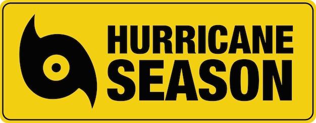 ハリケーンシーズンのバナー。ベクター。サイン。