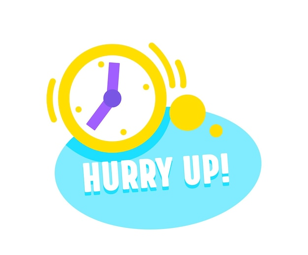 Hurry up icon with alarm clock. special offer promotion, countdown banner for shopping, marketing campaign, great deal
