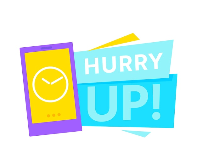 Hurry up notification banner with clock on smartphone screen. special offer promotional icon with time countdown
