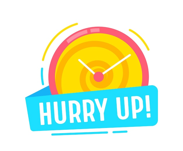 Hurry up time reminder banner, special offer promotion coupon or icon with clock dial. great deal shopping sale