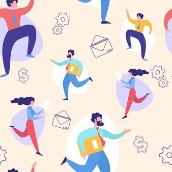 Hurrying businesspeople  seamless pattern