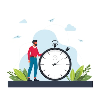Hurrying man and stopwatch. concept of time management, effective planning for productive work, stressful task, deadline, countdown. modern flat colorful vector illustration for poster, banner.