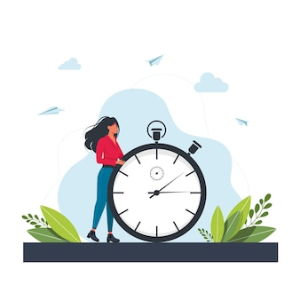 Hurrying woman and stopwatch. concept of time management, effective planning for productive work, stressful task, deadline, countdown. modern flat colorful vector illustration for poster, banner.