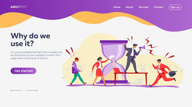 Hurrying workers landing page template