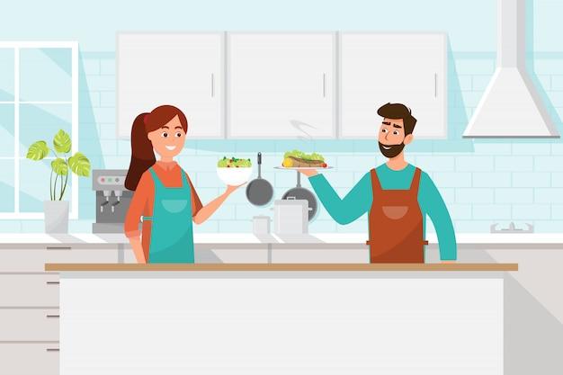 남편과 아내가 함께 요리. 부엌에서 남자와 여자