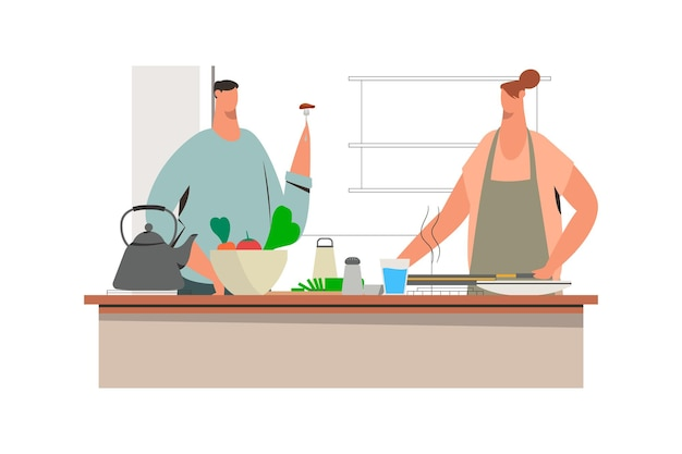 夫と妻がキッチン漫画イラストで一緒に料理
