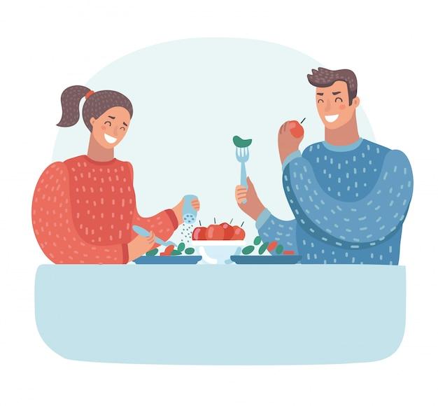 夫と妻の夕食。家族との夕食。菜食主義
