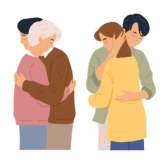 Муж и жена обнимаются, когда грустная депрессия подчеркивает время, чтобы показать любовь
