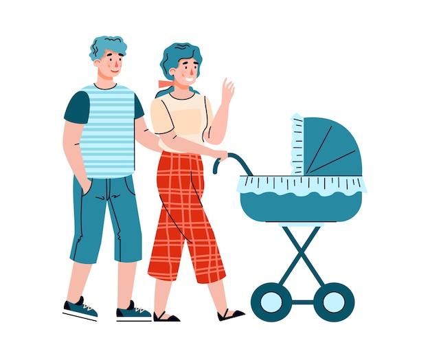 夫と妻は乳母車に横たわっている生まれたばかりの赤ちゃんと一緒に歩く