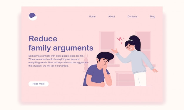 Husband carefully and lovingly listens to his irritated wife for solving the problem landing page template