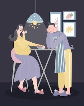 밤에 임신 한 아내를 먹이 남편.