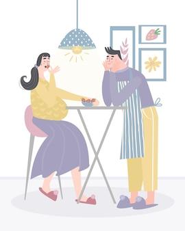 임신 한 아내를 먹이 남편. 임산부를위한 건강한 식단.