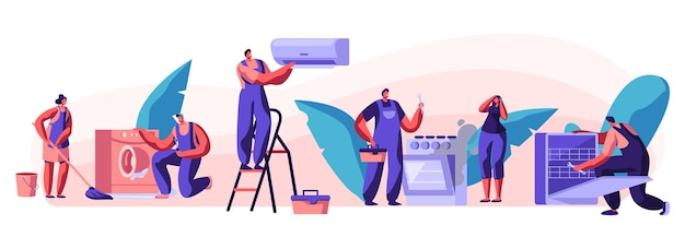 Husband for an hour, repair service joyful male characters in uniform working with instruments fixing broken technics at home. electrician, plumber call master at work cartoon flat vector illustration