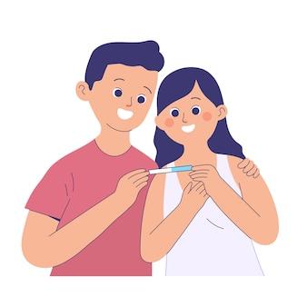 남편은 긍정적 인 임신 검사의 결과를보고 있기 때문에 사랑으로 아내를 안아줍니다.
