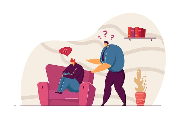 悲しい妻のベクトル図を質問する夫。男性キャラクターは、なぜ女性が気分が悪いのかを知っています。うつ病の人。ウェブサイトのデザインやランディングページのコンセプトに注意を払う。