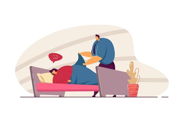 Муж заботится о больной жене. грустная женщина, лежа в кровати, человек, покрывающий одеяло плоской векторной иллюстрации. семья, отношения, концепция здоровья для баннера, дизайна веб-сайта или целевой веб-страницы