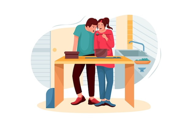 Husband and wife doing cooking illustration