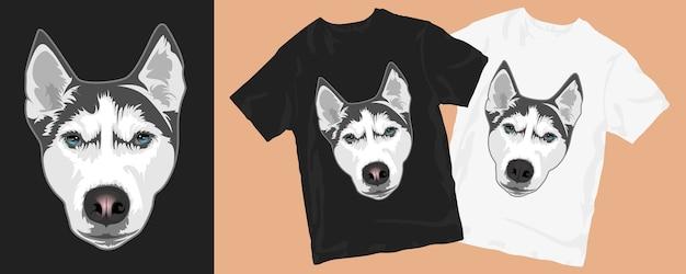 ハスキー犬の漫画のグラフィックtシャツのデザイン