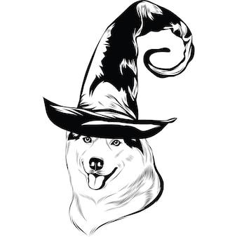 Хаски в шляпе ведьмы на хэллоуин
