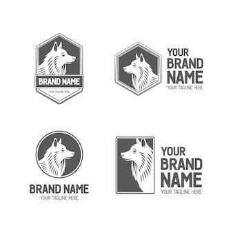 Husky dog logo set