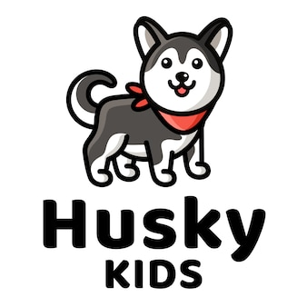 Husky kids cute logo template