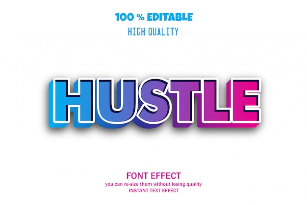 Hustle текст, редактируемый эффект шрифта