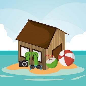 Хат пляж мяч флип-флоп камера коктейль солнцезащитные очки остров