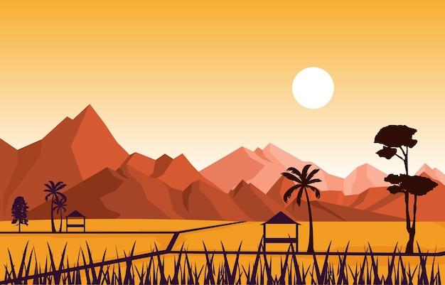 아시아 쌀 필드에 오두막 녹색 논 농장 농업 그림