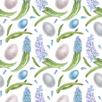 Hyachinth and eggs watercolor seamless pattern