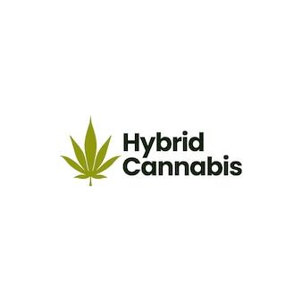 Hybird cannabis logo isolated on white