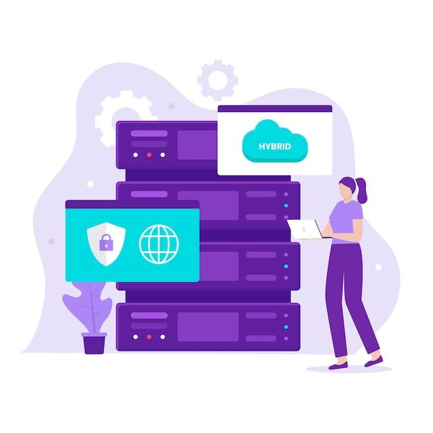 하이브리드 클라우드 일러스트레이션 디자인 컨셉입니다. 웹사이트, 방문 페이지, 모바일 애플리케이션, 포스터 및 배너용 일러스트레이션