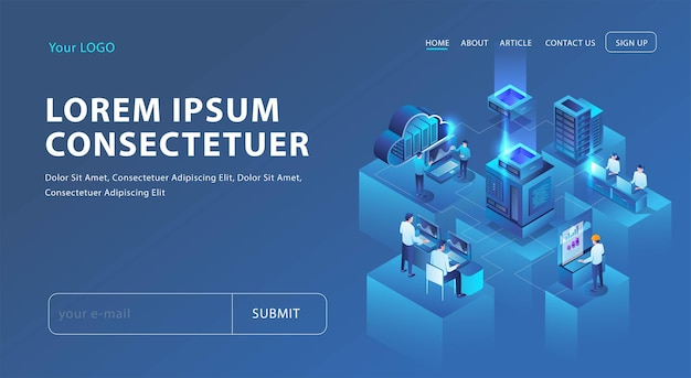 Hybrid cloud it solutions in isometric illustration