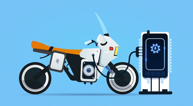 Hybrid motor bike charging at electric charge station modern motorcycle concept