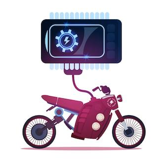 Гибридный мотоцикл заряжается от электричества, спортивный электрический мотоцикл на фоне
