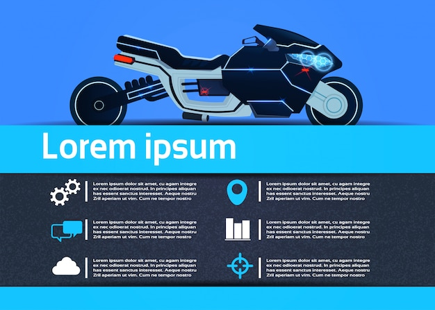 Hybrid motorcycle infographic template