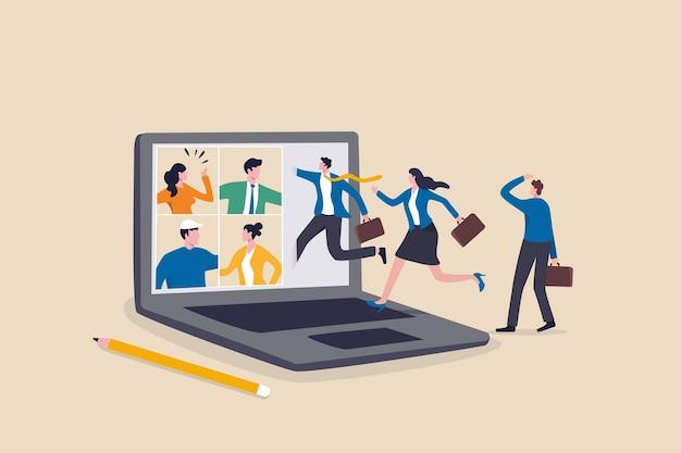 하이브리드 작업, 가상으로 집에서 원격으로 작업하거나 사무실에서 현장에서 작업, 직원 혜택 개념에 대한 유연성, 사업가와 그의 동료가 가상으로 컴퓨터 랩톱 회의 회의에 참석합니다.