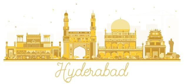 하이데라바드 인도 도시 스카이 라인 황금 실루엣입니다. 벡터 일러스트 레이 션.