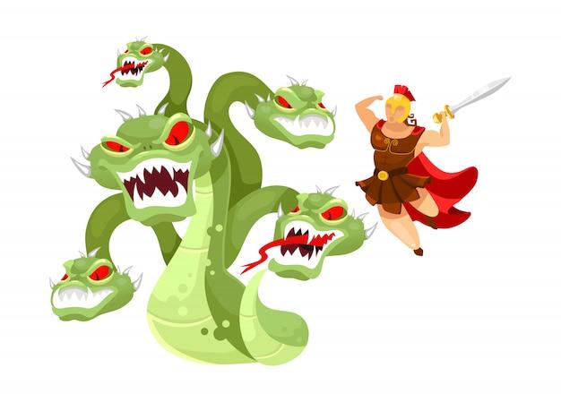 ヒドラとヘラクレスフラットイラスト。ヒーローが神話のモンスターを攻撃しています。ギリシャ神話。ヘラクレスの12の労働。白い背景の上の隔離された獣の漫画のキャラクターと戦う