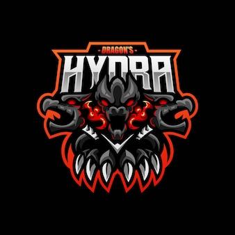 Eスポーツとスポーツチームのロゴのハイドラドラゴンマスコット