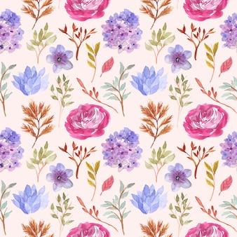 アジサイとバラの花の水彩画のシームレスパターン