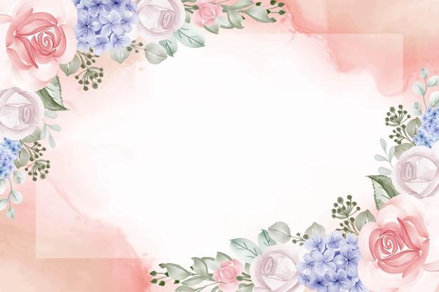 アジサイの青とバラの背景の花のフレーム