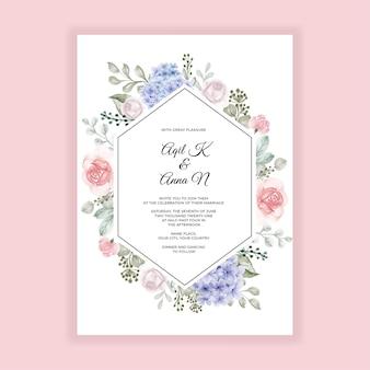 Ortensia blu con modello di invito a nozze rosa