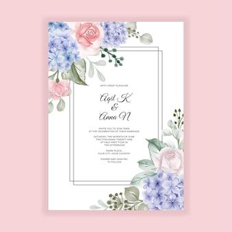Гортензия синяя с розой шаблон свадебного приглашения