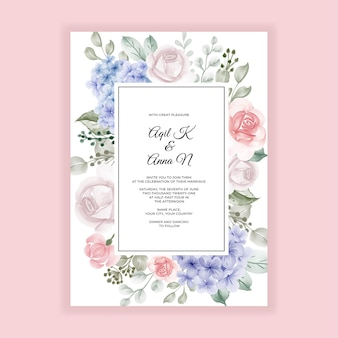 Hydrangea blue with rose wedding invitation template